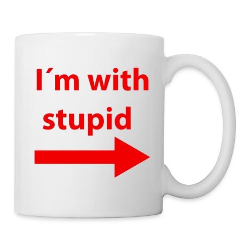 Mug humour I'm with stupid - Mug blanc