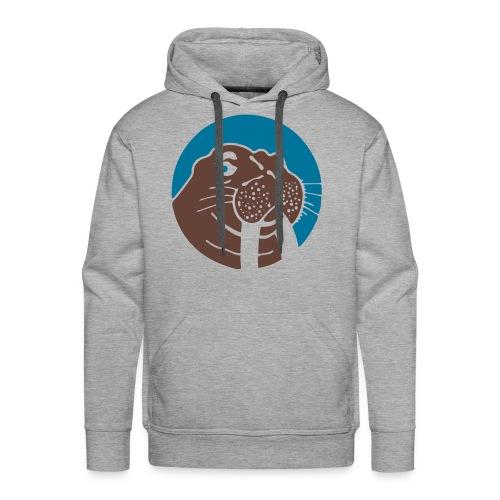 Walrus Hoodie Blue/Brown Logo - Mannen Premium hoodie