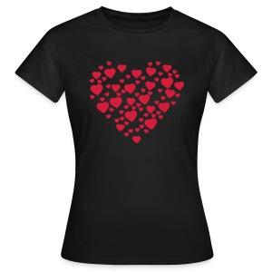 Womens Love Heart T-shirt - Women's T-Shirt