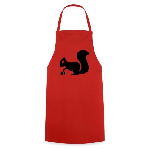 Grillschürze  Kochschürze für den Grillmeister Eichhörnchen schwarz - Kochschürze