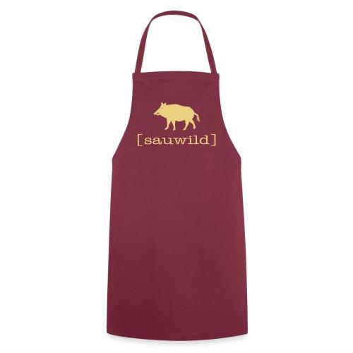 Grillschürze  Kochschürze für den Grillmeister Wildschwein sauwild beige - Kochschürze