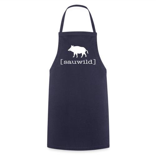Grillschürze  Kochschürze für den Grillmeister Wildschwein sauwild weiss - Kochschürze