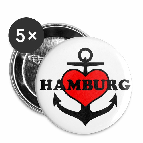 Herz auf Anker in HANSESTADT HAMBURG Anchor 2c Button Anstecker - Buttons mittel 32 mm (5er Pack)