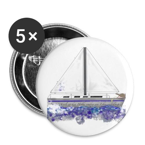 Segelboot - Buttons groß 56 mm (5er Pack)