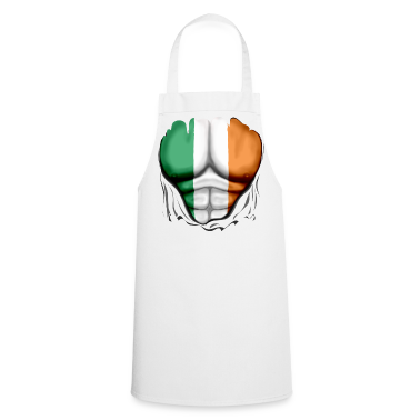 Ireland Flag Ripped Muscles, six pack, chest apron