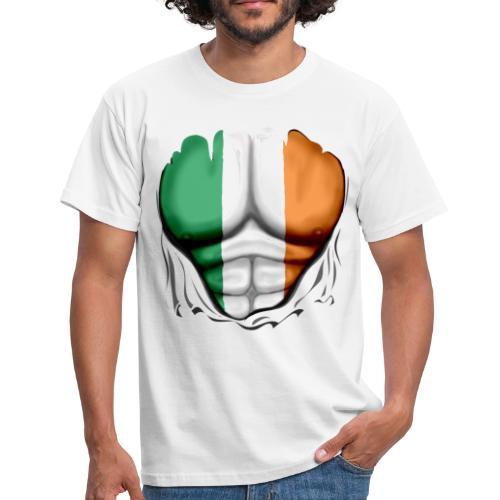 Ireland Flag Ripped Muscles, six pack, chest t-shirt - Men's T-Shirt