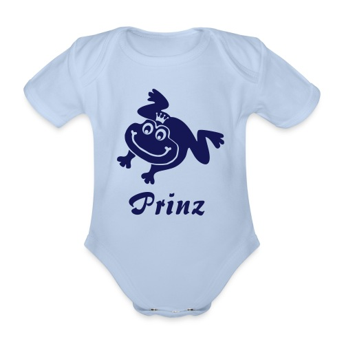 Baby Body Frosch Prinz blau Tiershirt Shirt Tiermotiv - Baby Bio-Kurzarm-Body