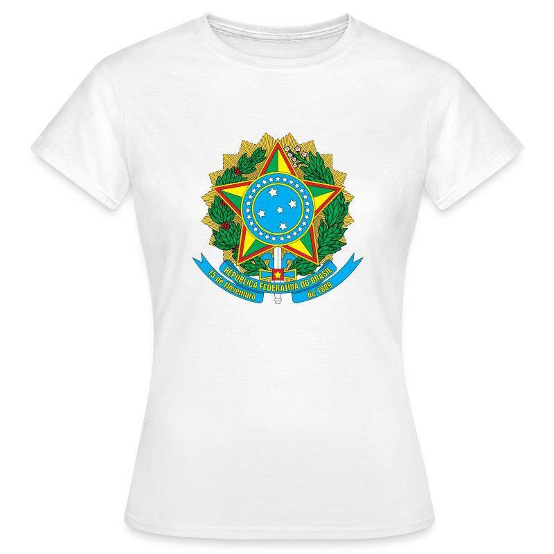 National coat of arms of brazil t shirt spreadshirt for Womens brazil t shirt