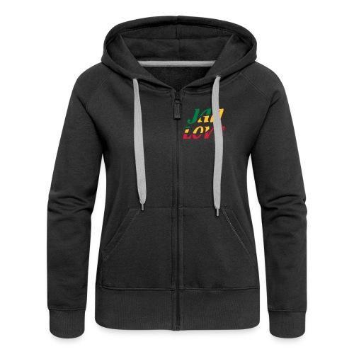 schwarze Kapuzenjacke Reggae-Jah Love(2) 3farbiger Druck - Frauen Premium Kapuzenjacke