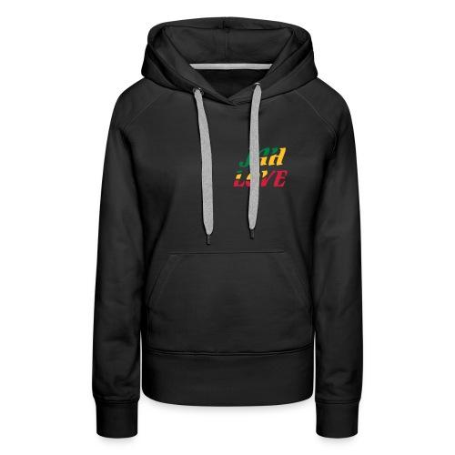 schwarzer Kapuzenpullover Reggae-Jah Love(2) 3farbiger Druck - Frauen Premium Hoodie