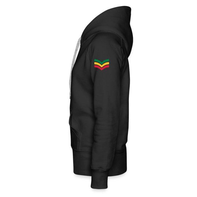 schwarzer Kapuzenpullover Reggae-Jah Love(2) 3farbiger Druck