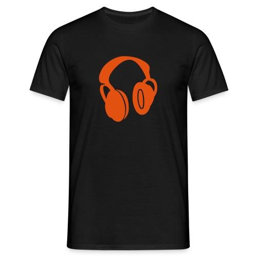 DJ / Headphone / Black-Orange - Männer T-Shirt