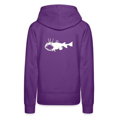 Frauen Kapuzenpullover Fisch Raubfisch Seeteufel weiss Tiershirt Shirt Tiermotiv - Frauen Premium Hoodie