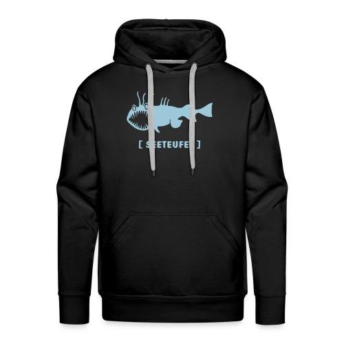 Herren Kapuzenpullover Fisch Raubfisch Seeteufel hellblau Tiershirt Shirt Tiermotiv - Männer Premium Hoodie