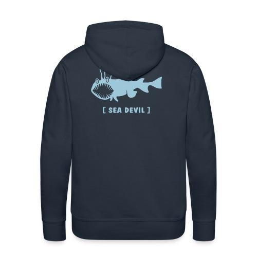 Herren Kapuzenpullover Fisch Raubfisch Seeteufel Sea Devil hellblau Tiershirt Shirt Tiermotiv - Männer Premium Hoodie