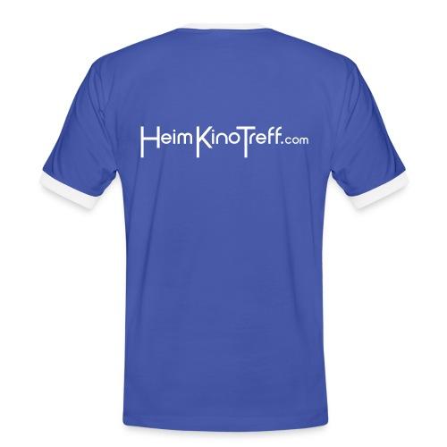 Kontrast-Shirt blau mit Schriftzug - Männer Kontrast-T-Shirt