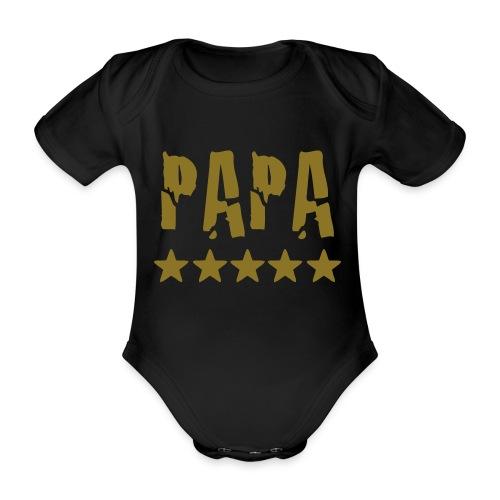 Baby Body Papa Zwart - Baby bio-rompertje met korte mouwen
