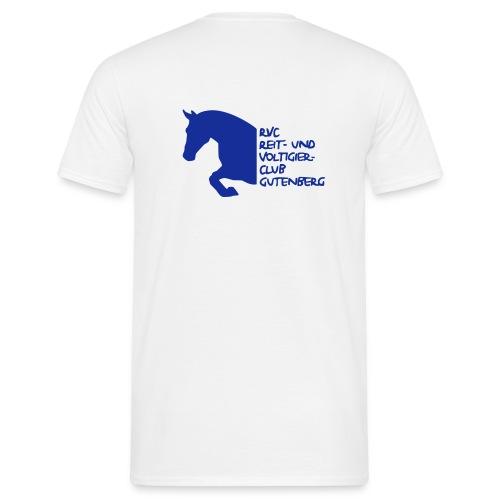 Männer T-Shirt - Klassisches Herren T-Shirt in Weiß mit dem blauen RVC Gutenberg Logo auf der Rückseite (beflockt)