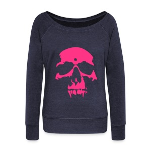 Pink Skull Slouch - Women's Boat Neck Long Sleeve Top