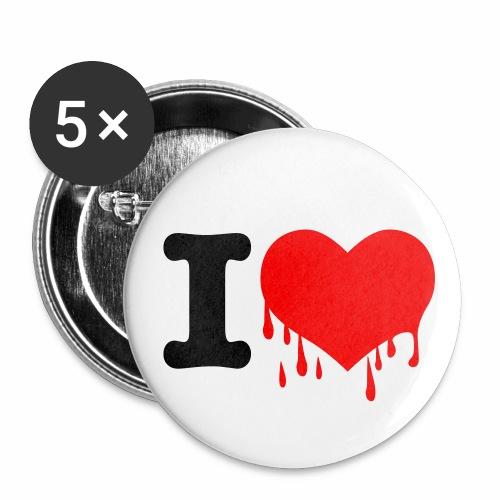 I LOVE YOU - Neon Rot + schwarz Anstecker Button - Buttons mittel 32 mm