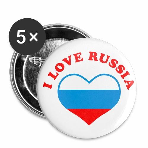 Ja ljublju Rossiju - i love russia - Herz Heart Russland Fahne 3c Button Anstecker - Buttons mittel 32 mm
