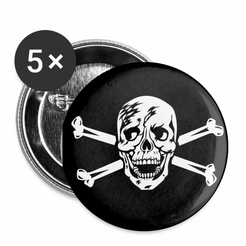 Totenkopf / Skull Anstecker / Button - Buttons groß 56 mm (5er Pack)