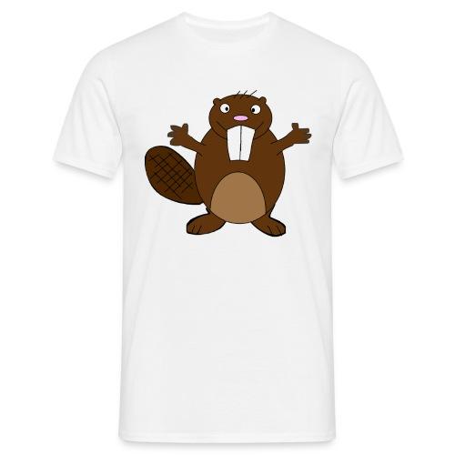 Beaver ,  white only - Men's T-Shirt
