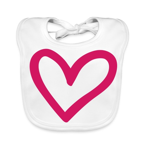 Big Pink Heart Baby's Bib - Baby Organic Bib