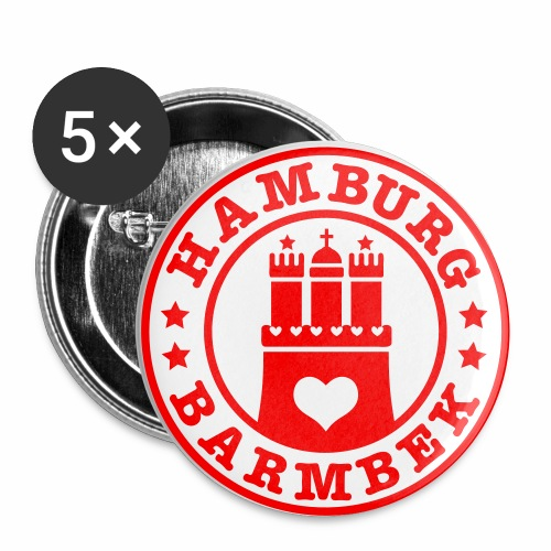 HAMBURG Barmbek - Hamburger Wappen Fan-Design HH Anstecker / Button Souvenir - Buttons groß 56 mm (5er Pack)