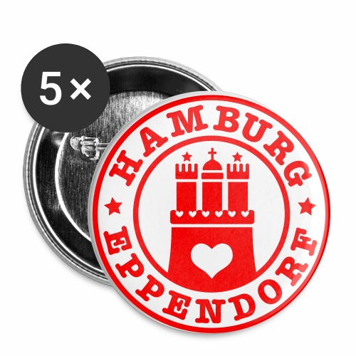 HAMBURG Eppendorf - Hamburger Wappen Fan-Design HH Anstecker / Button Souvenir - Buttons groß 56 mm (5er Pack)