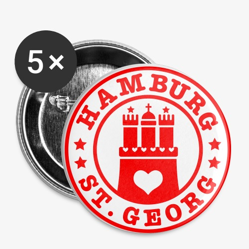 HAMBURG St. Georg - Hamburger Wappen Fan-Design HH Anstecker / Button Souvenir - Buttons groß 56 mm