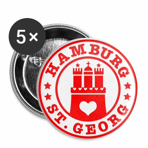 HAMBURG St. Georg - Hamburger Wappen Fan-Design HH Anstecker / Button Souvenir - Buttons groß 56 mm (5er Pack)