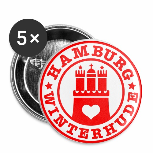 HAMBURG Winterhude - Hamburger Wappen Fan-Design HH Anstecker / Button Souvenir - Buttons groß 56 mm (5er Pack)