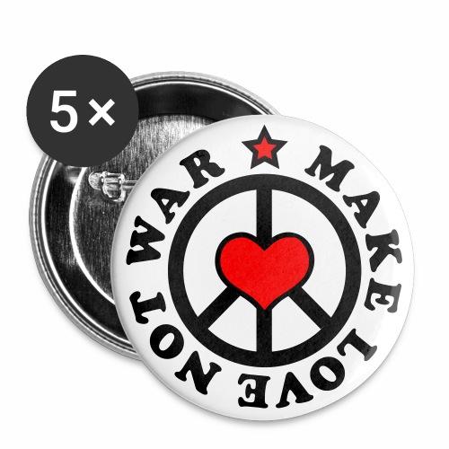Make Love not War - Mach Liebe, nicht Krieg - Herz + Stern 2c Button Anstecker - Buttons groß 56 mm
