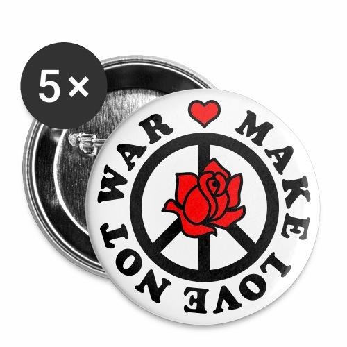 Make Love not War - Mach Liebe, nicht Krieg - Herz + Rose 2c Button Anstecker - Buttons groß 56 mm