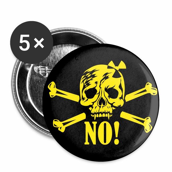 Totenkopf - No Nuclear Power - NEIN zu Kernenergie Button Anstecker