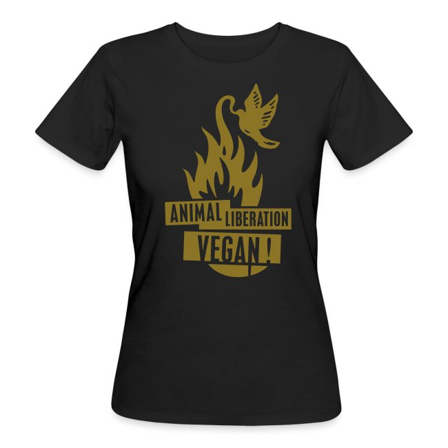 Womens BIO 'animal liberation vegan' GOLD