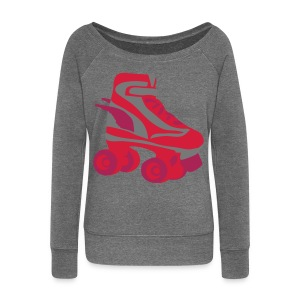 Womens Grey Long Sleeved Top With Retro Roller Skate - Women's Boat Neck Long Sleeve Top