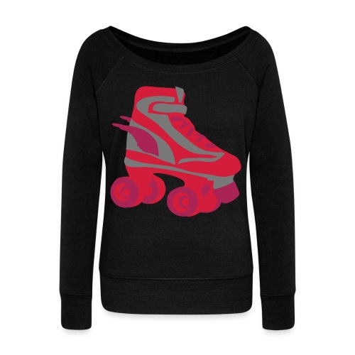 Womens Black Long Sleeved Top With Retro Roller Skate - Women's Boat Neck Long Sleeve Top