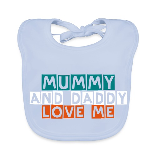MUMMY AND DADDY LOVE ME MULTICOLOURED - Baby Organic Bib