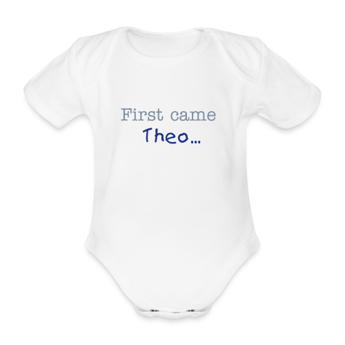 TWIN 1 - First came PERSONALISED NAME - Organic Short-sleeved Baby Bodysuit