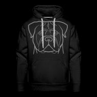 Felpe ~ Felpa con cappuccio premium da uomo ~ Uomo - Logo grigio + Manica dx (bullmastiff KIDS)