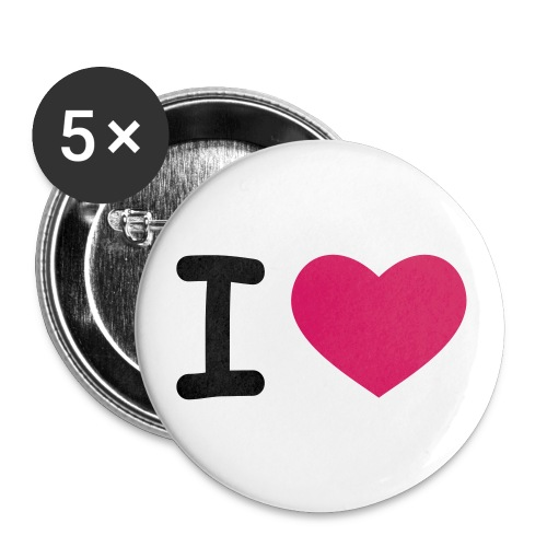 I Love  Button - Buttons klein 25 mm (5er Pack)