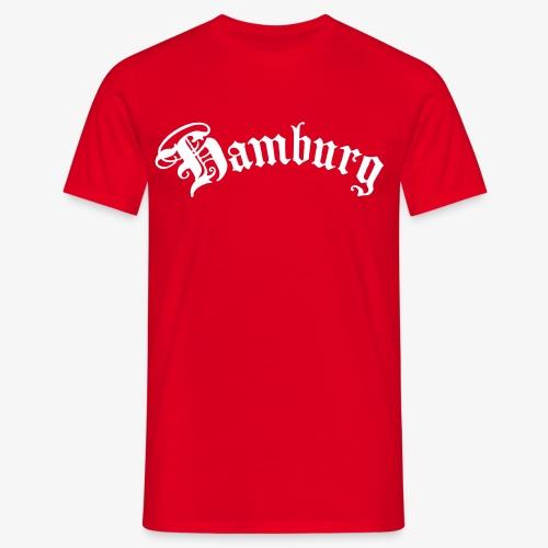 HAMBURG Schriftzug Männer T-Shirt rot + alle Farben - Männer T-Shirt