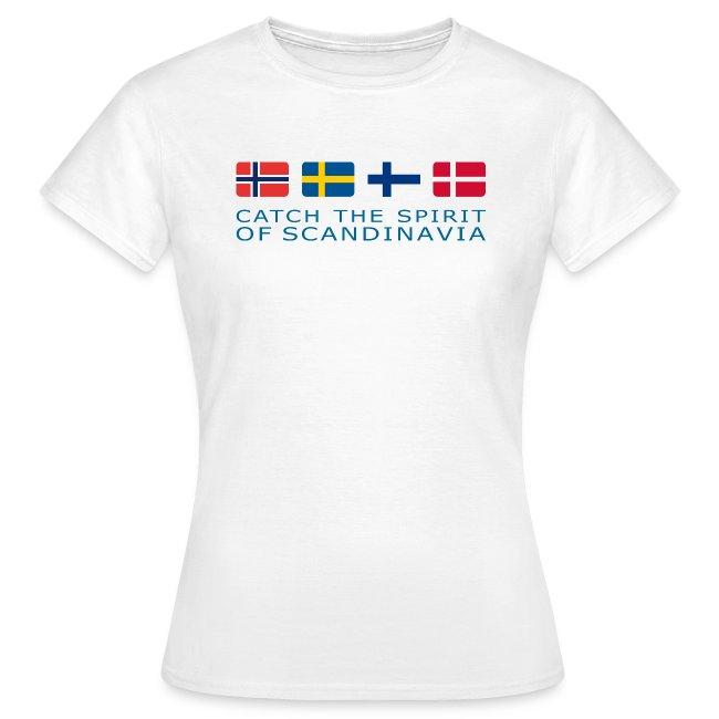 Women's T-Shirt CATCH THE SPIRIT OF SCANDINAVIA blue-lettered