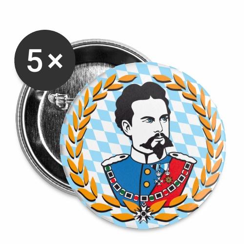 König Ludwig der II. Portrait - Button Anstecker - Buttons mittel 32 mm (5er Pack)
