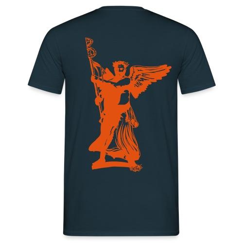 BerlinBear-Shirt blau-orange (Motiv auf dem Rücken) - Männer T-Shirt
