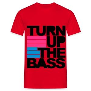 Turn up de bass Rood met zwarte letters - Mannen T-shirt