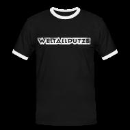 T-Shirts ~ Männer Kontrast-T-Shirt ~ Weltallputze Grunge weiss Kontrast