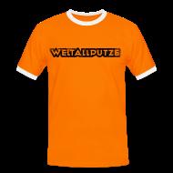 T-Shirts ~ Männer Kontrast-T-Shirt ~ Weltallputze Grunge schwarz Kontrast